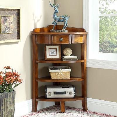 美式小角柜 墻角轉角儲物柜 客廳臥室角落實木三角置物架收納角櫥