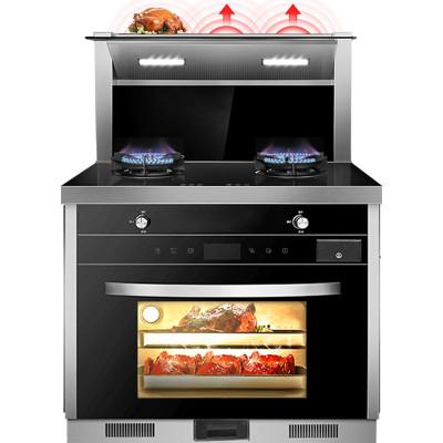 歐尼爾OUNIER LX6-SZK一體式一體機帶蒸烤箱下排側吸式家用環保灶燃氣自動清洗雙電機油煙機液化氣集成灶