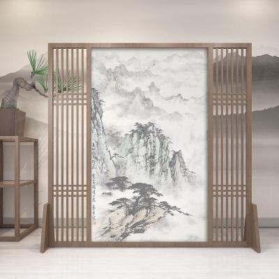 BONJEAN新中式實木屏風隔斷墻客廳玄關入戶定制酒店臥室裝飾遮擋家用座屏