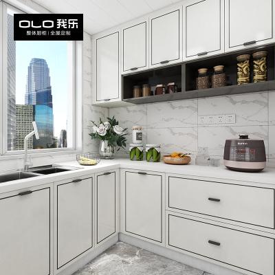 我樂櫥柜君悅 現代輕奢廚房櫥柜碗柜整體家用定制石英石臺面裝修
