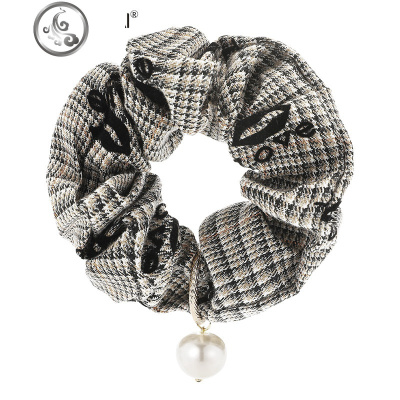 珍珠頭飾簡約頭繩皮筋扎頭發繩大腸發圈發繩簡約綁頭繩女   JiMi