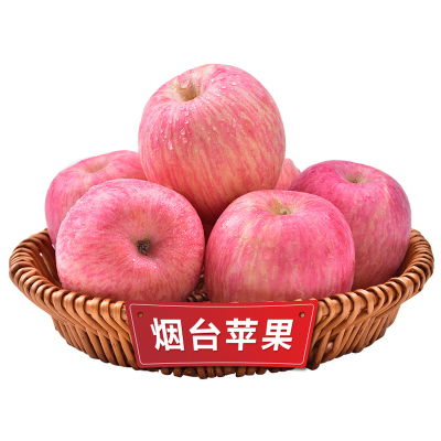 煙臺紅富士蘋果凈重5斤裝 一級果 果徑80mm左右 煙臺蘋果 新鮮水果 蘇寧蘋果 水果生鮮 五彩小淘