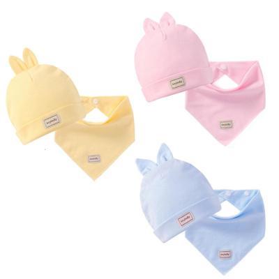 寶寶帽子 0-3個月兒純棉胎帽嬰幼兒兔子帽寶寶帽子組合裝頭巾