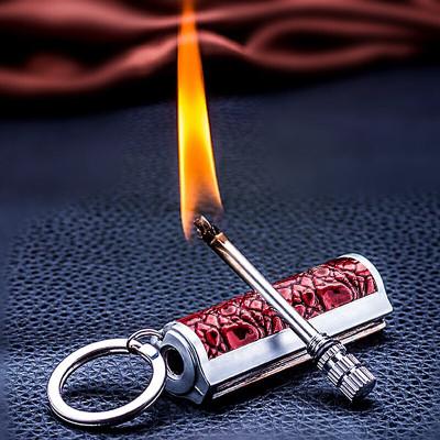 創意禮品 火柴 煤油打火機金屬便攜火柴棒創意復古戶外防水打火石時尚多功能便攜鑰匙扣生日送男友同款送禮品