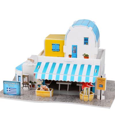 DIE-CAST樂立方3D立體拼圖建筑紙模型拼插拼裝玩具 希臘愛琴海世界風情浪漫情人 兒童創意拼裝玩具 紀念品店