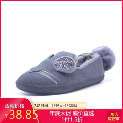 达芙妮旗下鞋柜品牌女靴 新款平底韩版百搭毛毛鞋网红加绒豆豆鞋