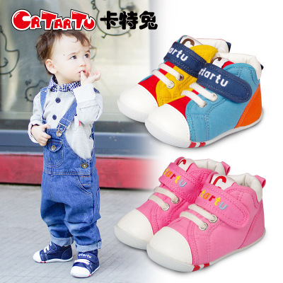 卡特兔1-3-5歲冬季嬰兒學步鞋男女寶寶鞋子防滑軟底機能鞋春秋兒童透氣帆布鞋