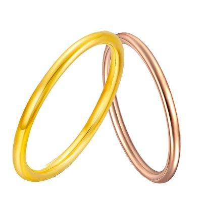 阿瑪莎18K金光圈戒指光面時尚彩金黃金指環玫瑰金情侶戒素金au750女尾戒