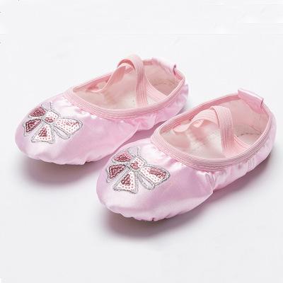儿童舞蹈鞋女童缎面绣花舞蹈鞋芭蕾舞亮片蝴蝶结舞蹈鞋公主跳舞鞋