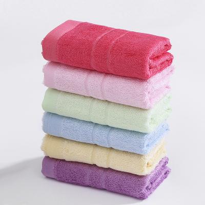 竹一百竹纖維童巾兒童洗臉潔面小長毛巾 壓條素色 50g/條 28*48cm