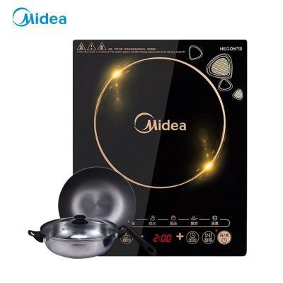 美的(Midea)电磁炉 2102 家用 爆炒 大功率 智能触控式(赠汤锅+炒锅)C21-WK2102T