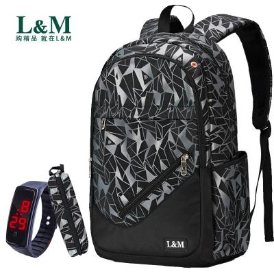 L&M 書包 書包男小學生中學生高中生書包男初中生大學生背包男雙肩包女潮流韓版電腦包15.6寸旅行包 書包