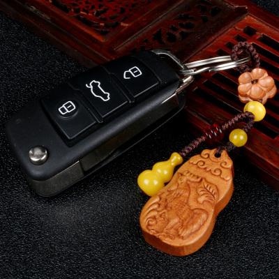 2020鼠年生肖屬雞桃木鑰匙扣金雞報捷丹鳳蘭芝蓮年酉福包包掛件