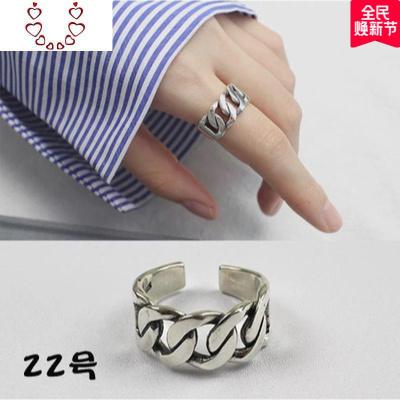 韓國定制簡約復古做舊925純銀鏈條麻花戒指黑瑪瑙珍珠開口戒指環 Chunmi
