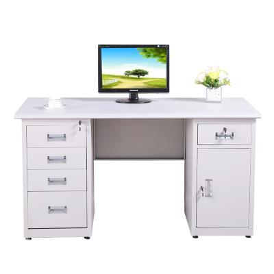 三能 辦公家具鋼制辦公桌鐵皮電腦桌財務桌子帶鎖帶抽屜寫字臺1.2米1.4米1.6米