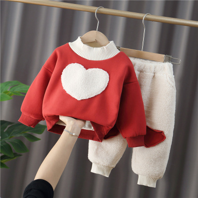 女童装秋冬装2岁女宝宝洋气时髦冬季加绒加厚1套装婴儿童保暖衣服威珺