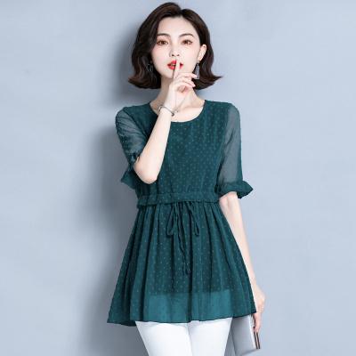 班俏BANQIAO雪紡衫女新款2020年夏季大碼寬松收腰顯瘦中袖上衣中長款洋氣小衫