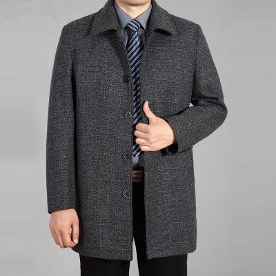 中老年男装毛呢外套男中长款秋冬大衣 扣子上衣男爸爸装中年风衣 莎丞