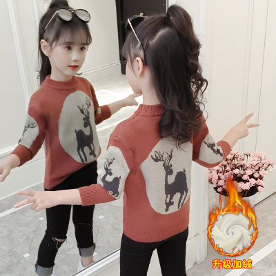 女童加绒毛衣2019新款冬装儿童加厚针织衫中大童洋气打底衫毛线衫