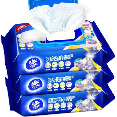 維達(Vinda) 廚房濕巾(40送8)片/包*3包 送柔絲球濕紙巾帶蓋抽取式廚房濕紙巾去油污衛生濕巾家庭裝V4002