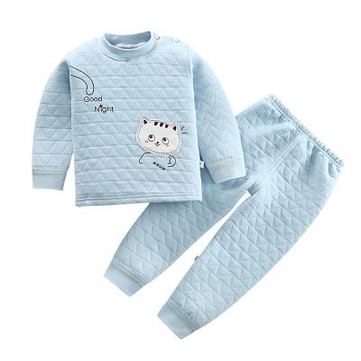【年后发货】口袋儿童保暖衣套装秋冬男女内衣纯棉睡衣加厚0-6岁1儿童三层夹棉宝宝