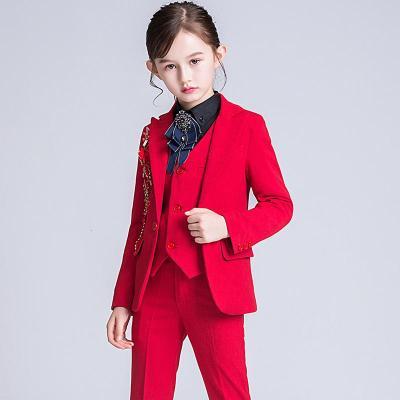 新品热卖女童西装套装儿童西服女小主持人走秀钢琴演出服女孩花童礼服秋冬潮款