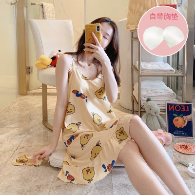 睡裙女夏季棉性感帶胸墊吊帶裙學生可愛夏天薄款寬松連衣裙睡衣威珺
