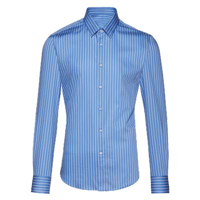 碼尚定制MatchU全棉時尚條紋襯衫 購買后會發送量體短信鏈接 2020春秋新款男士長袖商務襯衫 藍底白條