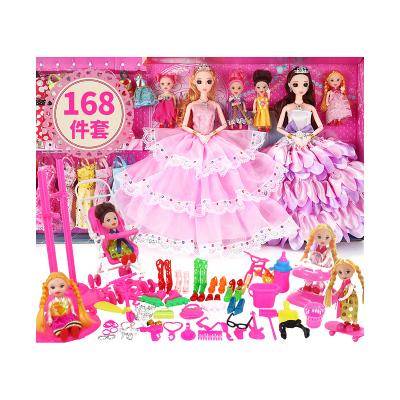 菲妮朵兒芭比娃娃套裝大禮盒兒童女孩過家家玩具婚紗禮服布可愛公仔芭比娃娃設計換裝禮盒葉羅麗公主