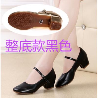 廣場舞鞋女春秋夏軟底舞蹈鞋中跟皮鞋銀紅色交誼舞練舞跳舞鞋