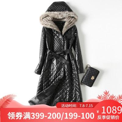 憨厚皇后 海寧秋冬新款真皮綿羊皮皮衣女士整貂編織連帽外套T