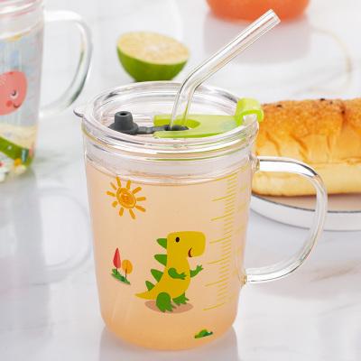 美廚(maxcook)兒童玻璃水杯 牛奶杯吸管杯量度杯奶粉杯帶刻度 寶寶杯早餐杯耐熱可微波 350ml恐龍款MCB082