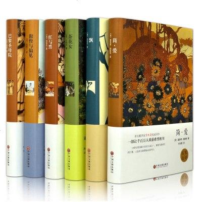 6本 世界六大名著套装 傲慢与偏见/简爱/红与黑/飘/茶花女/巴黎圣母院 精装青少中文版