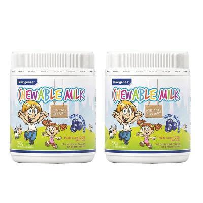 (2瓶裝)【澳洲直郵】Maxigenes美可卓藍胖子天然藍莓護眼牛奶咀嚼片300g 片劑200
