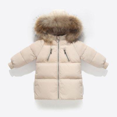 儿童羽绒服男童女童中长款连帽保暖外套宝宝加厚白鸭绒冬装迪可珑儿童通用105cm