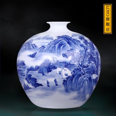 古笙記 景德鎮陶瓷器花瓶插花手繪山水石榴瓶 中式家居博古架擺件工藝品