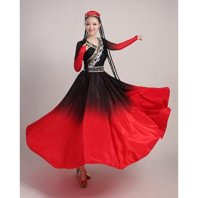 新疆舞蹈服装演出服女成人民族风维吾尔族现代表演服装大摆裙长款