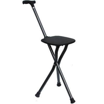 米圣藍老人三腳凳戶外登山杖步行棍鋁合金折疊椅子折疊仗多功能手杖