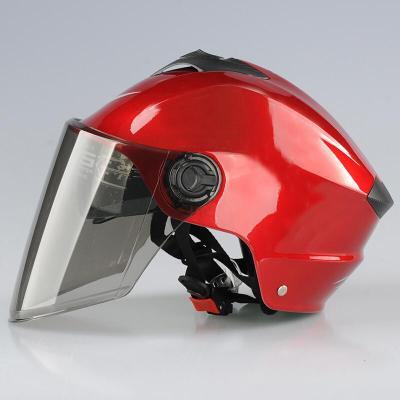 適用于電動車頭盔摩托車夏天情侶男女電瓶車電瓶電動車大號男女頭盔夏季XXXXL半盔灰雙 紅色(配茶色鏡) 3XL