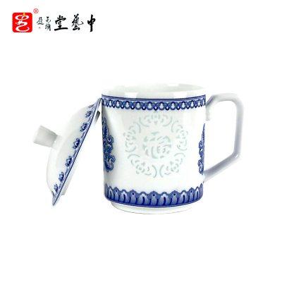 中藝盛嘉景德鎮陶瓷杯五福玲瓏杯主人杯功夫茶具創意杯子禮物送長輩懷舊帶蓋陶瓷茶杯中藝堂藝術品禮品