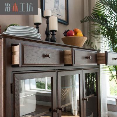 杞沐实木大餐边柜 环保美式黑胡桃色大餐边玻璃柜 红橡木餐厅碗厨柜