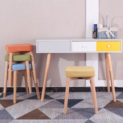 唐臻餐桌凳家用凳實木化妝凳北歐可摞疊換鞋凳電腦凳時尚方凳布藝凳子