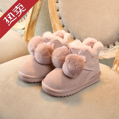 迪士尼官方旗舰店女宝宝二棉鞋冬款女童毛毛鞋加厚婴儿雪地靴冬靴儿童棉鞋公主短靴小孩子的