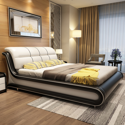 憶斧至家 (YF) 床 真皮床皮質簡約現代 軟體床 1.8米1.5米皮床 主臥實木高箱儲物榻榻米雙人床 大婚床皮藝床