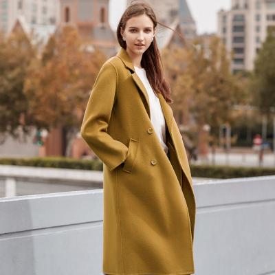 【2件2.5折價:277.3】ME&CITY女長款雙面呢雙排扣后開叉毛呢大衣