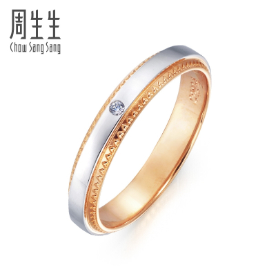 周生生(CHOW SANG SANG)PromessaPt950铂金18K金黄金钻石戒指对戒款女款 85445R