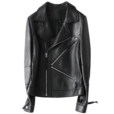 2020春季時尚新款真皮黑色皮衣女士休閑短款綿羊皮外套