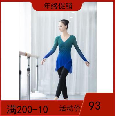 古典舞舞蹈练功服女成人弹力网纱渐变上衣身韵考级表演服
