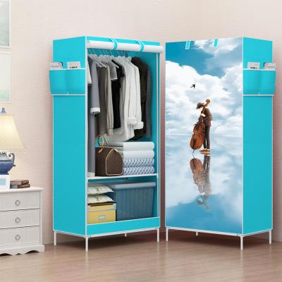 簡易衣柜學生宿舍單人小衣櫥置物整理收納柜經濟型鋼管加粗布衣柜-音樂男神