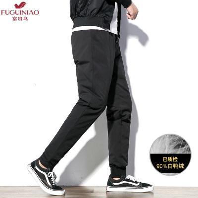 富貴鳥(FUGUINIAO)2019時尚冬季男士個性羽絨褲舒適百搭保暖外穿束腳褲